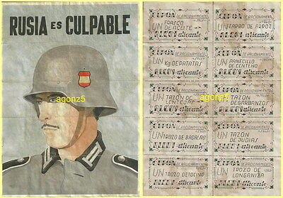 0612 Wwii Spanish Blue Division Against Russia 10 Uncut Coupons Alcoy-Alicante