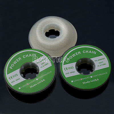 3Pack Dental Power Chain Short Type Ortho Elastolink Rubber Clear Color