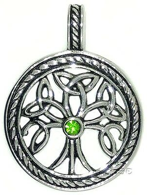 Celtic Irish Pendant Necklace Tree of Life Knot Provider Stainless w Green CZ