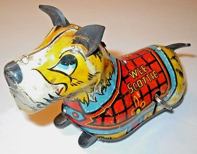 Vintage Tin Wee Scottie Dog Tin Wind-Up * Works * Both Ears & Tail