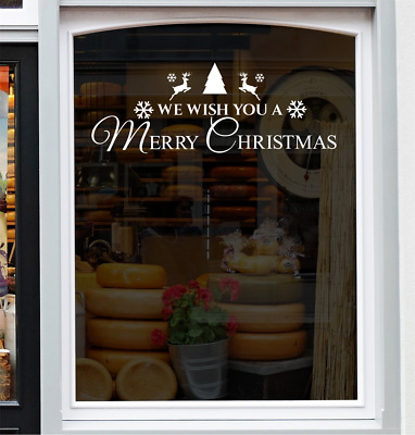 We Wish You A Merry Christmas Shop Home Window Sticker Festive Xmas Decor Decal