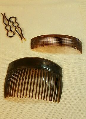 4 Pieces ♡ Old Vintage Antique ♡ Bakelite Fashion Hair Combs And Hair Pins