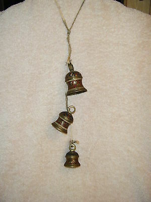 Set Of 3 Vintage Brass And Enamel Bells Mid Century