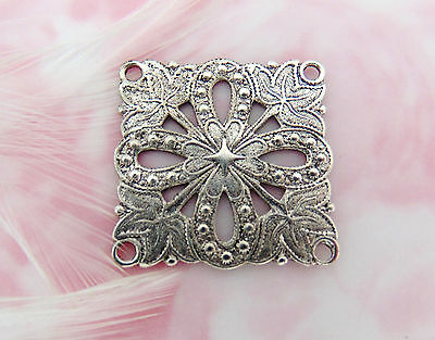 ANTIQUE SILVER Embossed Filigree Flower CONNECTOR Stamping 4 Holes (FA-6056)