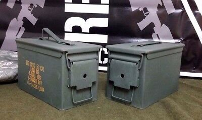 (2 PACK) 50 Cal M2A1 AMMO CAN VERY GOOD CONDITION * FREE SHIPPING *