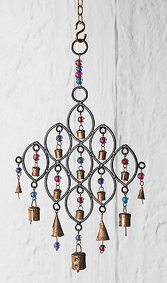 Recycled Wind Chime with Glass Beads and Bells Fair Trade