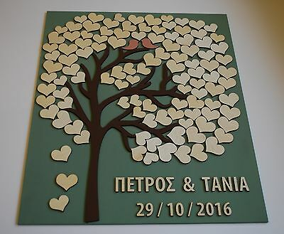 wood tree with hearts, alternative guest book, wooden wedding guest book