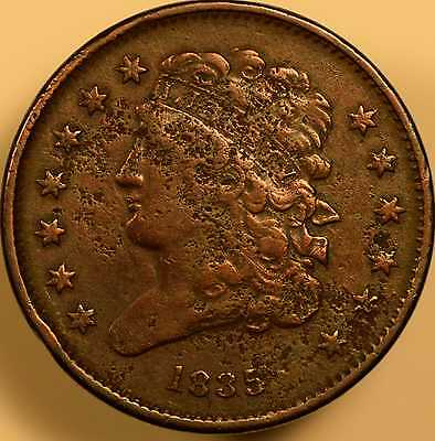 1835 Draped Bust Half Cent Very Fine Details
