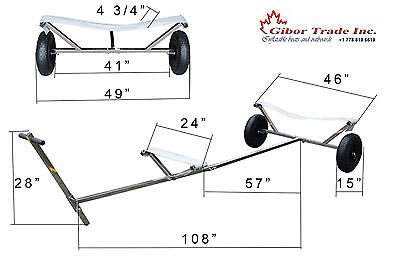 """NEW Stainless Steel Boat Dolly Trailer with 15'' X 4"""" Launching Transom Wheels"""