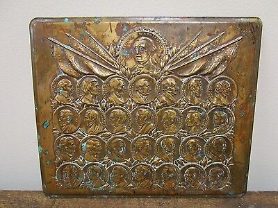 Antique 1923 George Washington  Presidents Bronze Wall Plaque Signed A Eisenberg