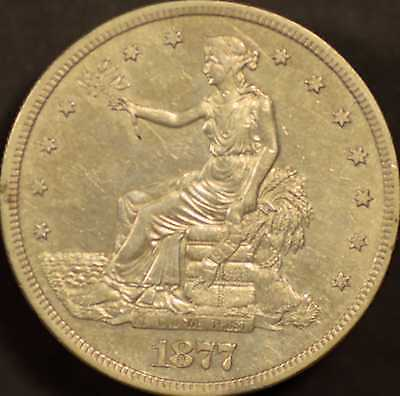 1877 Seated Liberty Trade Dollar Almost Uncirculated Details