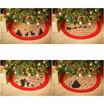 New Christmas World Jute Tree Skirt With Felt Rim Floor Decoration - 4 Designs