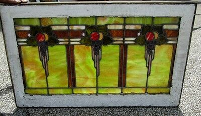 Fine Antique 3 Flower Designed Stained Glass Window An Ohio Estate  # 257