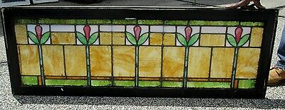 Sweet Antique Arts & Crafts 5 Tulips Stained Glass Window An Ohio Estate # 281