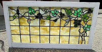 Fine Antique Arts & Crafts Stained Glass Window W/ Vines Design Estate # 581