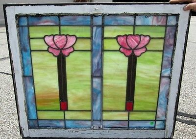 Fine Arts & Crafts Antique Stained Glass Transom Window New York Estate #119