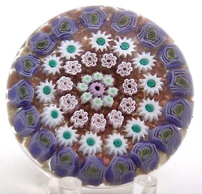 BEAUTIFUL James HART Millefiori CANES Clichy Style ROSE Border Glass PAPERWEIGHT