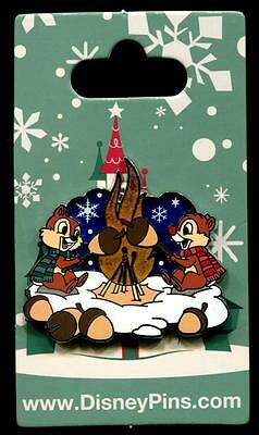 Chip and Dale Roasting Acorns by Fire Holiday Christmas Snow 2016 Disney Pin