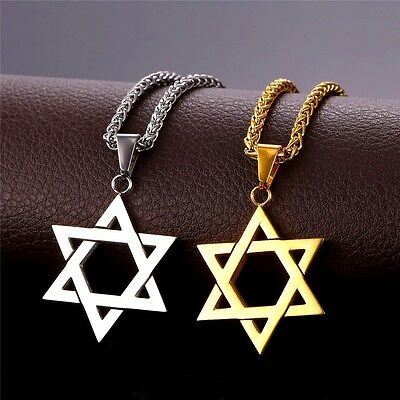 Large Silver Or Gold Star Of David Magen Necklace Jewish Pendant 22 Inch Chain