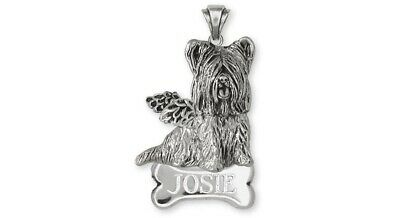 Skye Terrier Angel Personalized Pendant Jewelry Sterling Silver Handmade Dog Per
