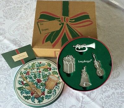 Longaberger Sounds of the Season Pewter Ornaments ~ NEW IN ORIGINAL TIN & BOX