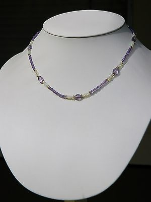 Faceted Amethyst & Opal Necklace 14K Gold Accent Beads & Safety Clasp & Earrings