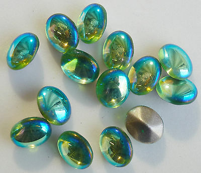 36 Vintage Glass Rhinestones Oval Peridot AB Dome Foil Germany 12x10mm C4-3