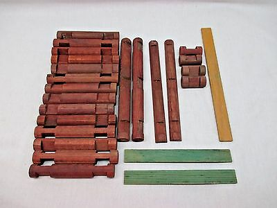 Playskool LINCOLN LOGS 25 Piece LOT. Smooth & Notched. Split & Round Roof Slats