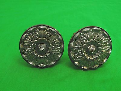 Pair Of Ornate  Victorian  Brass  Door Knobs floral pattern