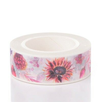 15mm Flower DIY Decorative Single-Sided Tape Adhesive Tapes Colorful 10m/roll