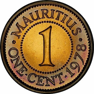 Mauritius 1 Cent 1978 Proof ~Fully Red Gem & Lightly Toned~
