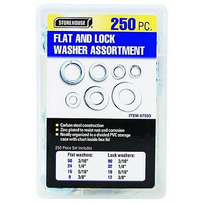 Store House Flat and Lock Washers Plated Low Carbon Steel Zinc Plated 250 Pcs