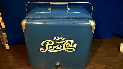PEPSI COOLER VINTAGE 1950s Original with tray Pepsi Ice chest bottle sign