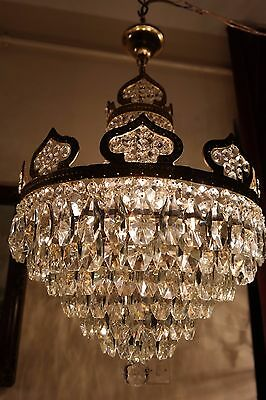 Antique Vnt French HUGE Basket Style Crystal Chandelier Lamp 1940s 16in dmter--