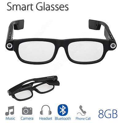 Smart Glasses Bluetooth 8GB With Headset Camera Lighting For Android PC Laptop
