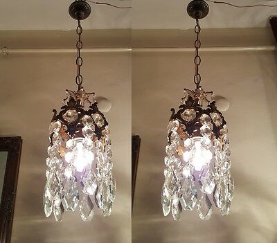 A Pair of Antique Vintage Basket Style Mini Chandelier lamp 1940s 6 in dmtr