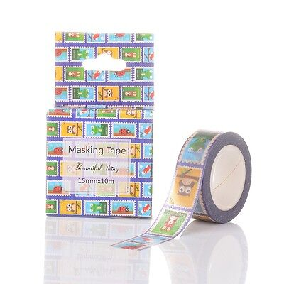 Animal DIY Scrapbook Decorative Single-Sided Tape Adhesive Tapes Colorful 15mm