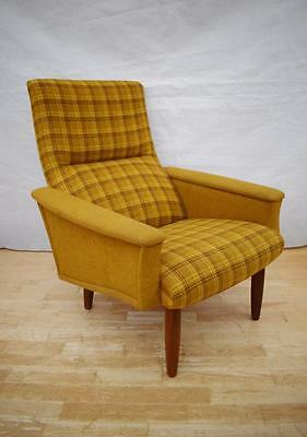 Mid Century Retro Danish Teak & Wool Easy Lounge Arm Chair 1960s 70s