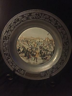 Vintage Currier And Ives Skating In Central Park Pewter Plate