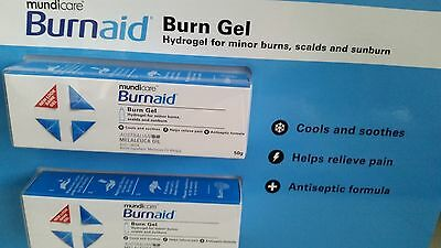 GENUINE Burn Aid by Mundicare 2 x 50g Tubes Free Postage Superfast Delivery!!