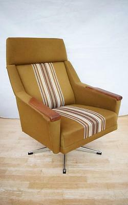 Mid Century Retro Danish Teak Swivel Lounge Arm Chair 1960s 70s