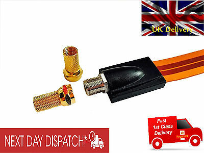 SKY TV Flat Coaxial Cable for Windows & Doors -F Type Sockets + 2x F Gold Plated