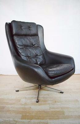 Mid Century Retro Danish Black Leather Swivel Lounge Arm Chair 1960s 70s