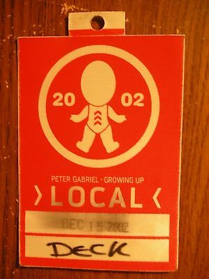 Peter Gabriel Unpeeled Tour Backstage Pass!! RARE!!!