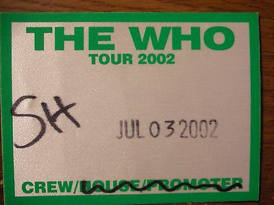 The Who Unpeeled Tour Backstage Pass!! RARE!!!