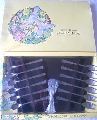 Vintage 1970's Grosvenor Nicole St Steel 6 Each Parfait Spoons Cake Buffet Forks
