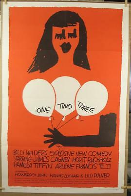 One Two Three 1962 Authentic One Sheet Movie Poster James Cagney - Saul Bass Art