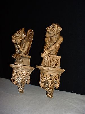 Antique pair of plaster Gargoyles Sconces with small griffins