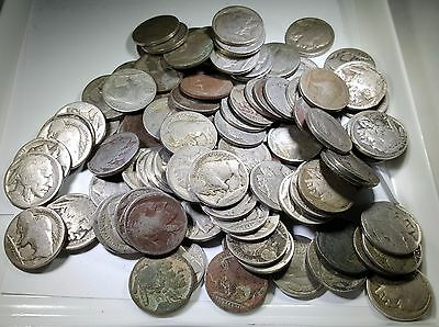 Lot of 108 Dateless US Buffalo Indian Head Nickels 5C 5 Cent Penny