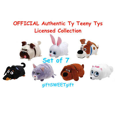 """AUTHENTIC Licensed TY Secret Life of Pets set of 7 TEENY Tys 4"""" Plush Free Ship"""